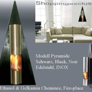New Fireplace Bio Ethanol Gel Fire Place Pyramid Stainless Steel