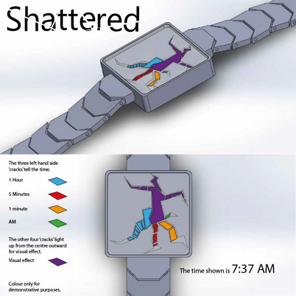 Shattered LED watch shows damaged time