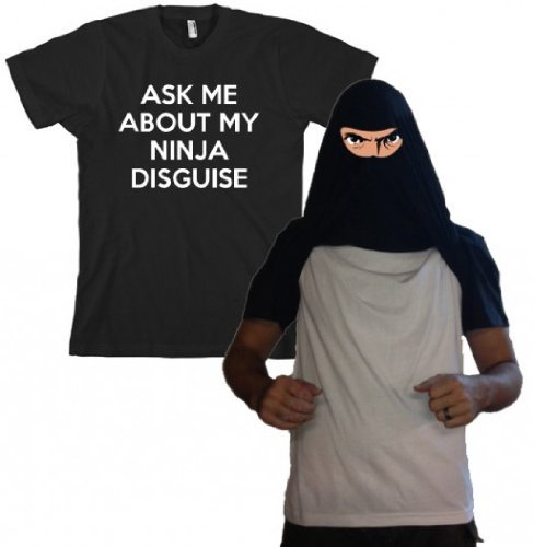 Ninja Face T Shirt cool ninja costume funny shirt