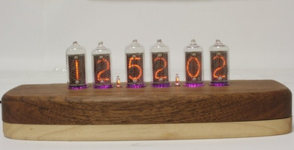 Classic Nixie Tube Clock - Teak Maple Hardwood Base