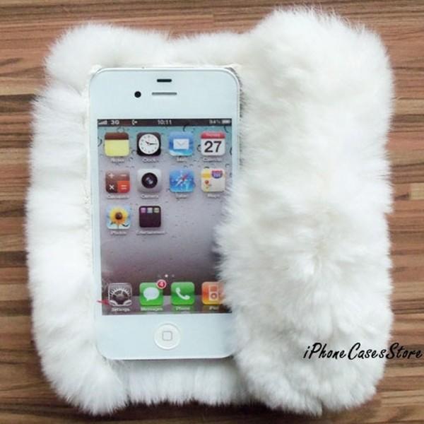 Luxury fur iPhone case iPhone 4 Flip iPhone case Fur Flip iPhone 4 case White fur iPhone 5