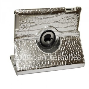 iPad 2/iPad 3 Stylish Crocodile Silver PU Leather Smart Case