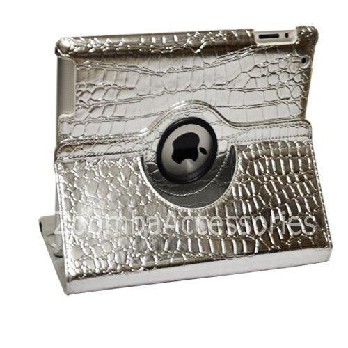iPad 2/iPad 3 Stylish Crocodile Silver PU Leather Smart Case