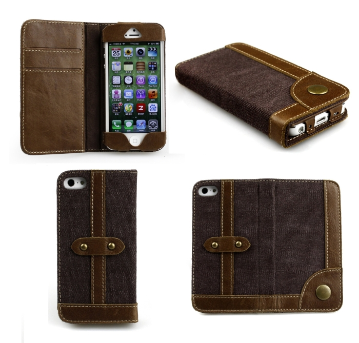 Buffalo Hide Leather Wallet Folio Case for iPhone 5