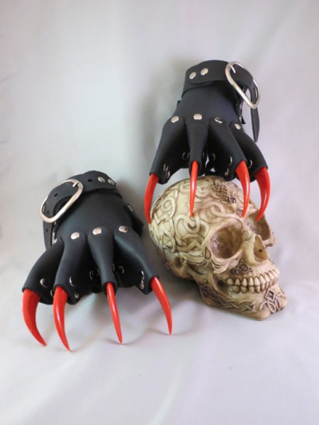Gothic Steampunk Red Claw Gauntlets / Gloves