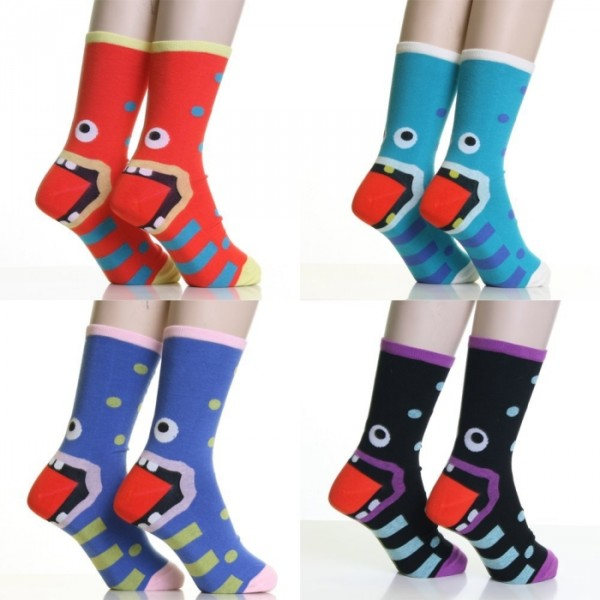Monster-Heel Cotton Crew Socks