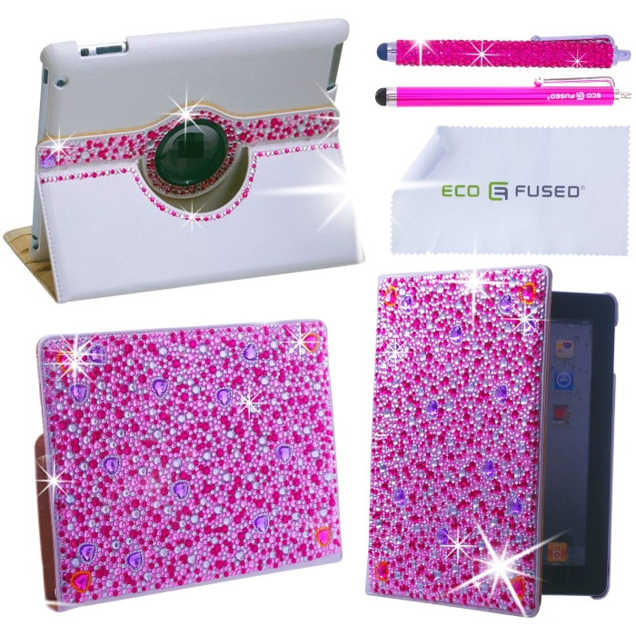 360 Rotating iPad 3 White Leather Case with Sparkling Crystals