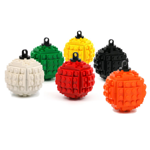 ornaments made with LEGO bricks