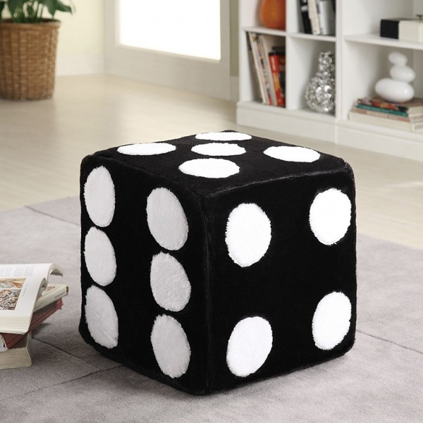 Ottoman with Dice Motif in Black and White Fabric