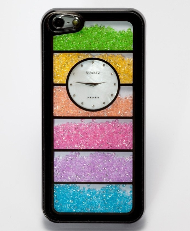 Watch Rainbow Swarovski Case Cover for Iphone 5