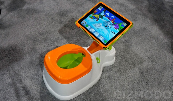 Potty with ajustable rotating stand