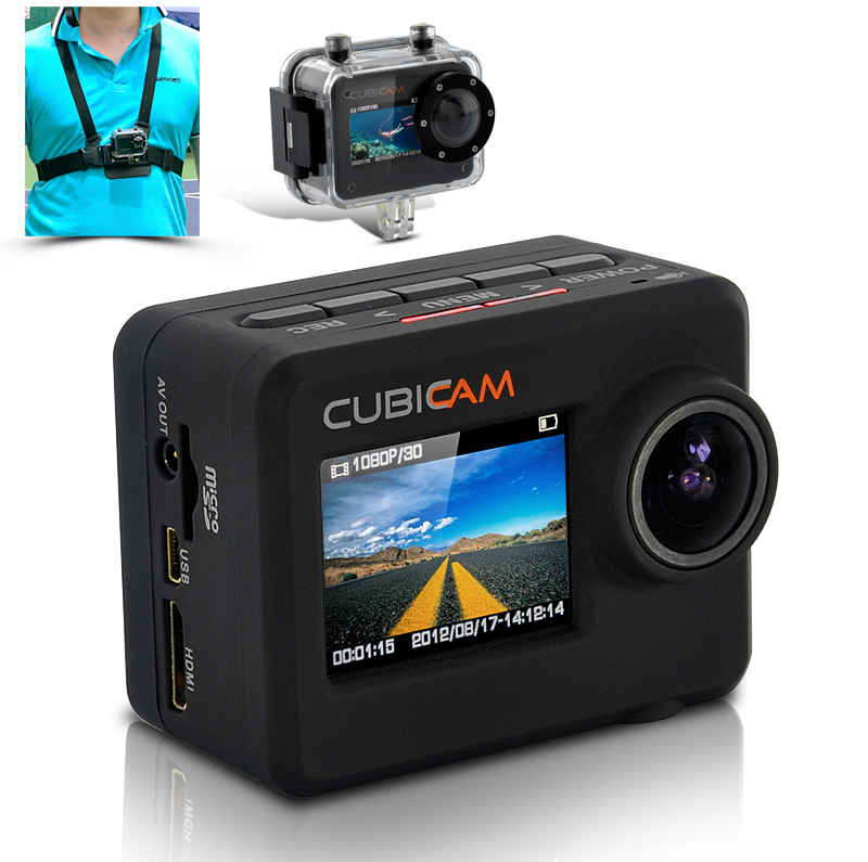 "Waterproof 1080p HD Sports Camera ""Cubicam"""