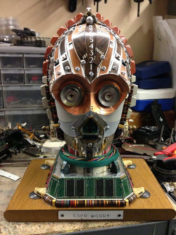 Upcycled C3PO Star Wars Sculpture