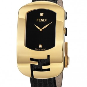 Fendi Large Chameleon Black Leather Strap Yellow Goldtone Diamond Watch