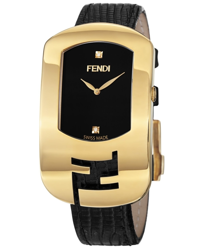 Fendi Large Goldtone Diamond Watch