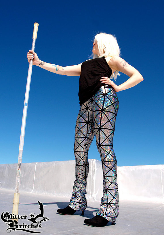 Holographic Silver/Black Rockstar Space Pants