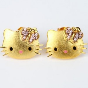 Hello Kitty Gold Plated Swarovski
