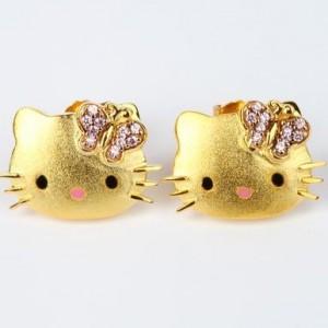 Hello Kitty Gold Plated Swarovski