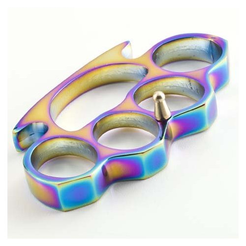 Rainbow Coated Brass Knuckles Paperweight