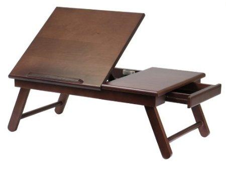 Alden Lap Desk, Flip Top with Drawer, Foldable Legs