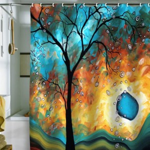 Designs Madart Aqua Burn Shower Curtain