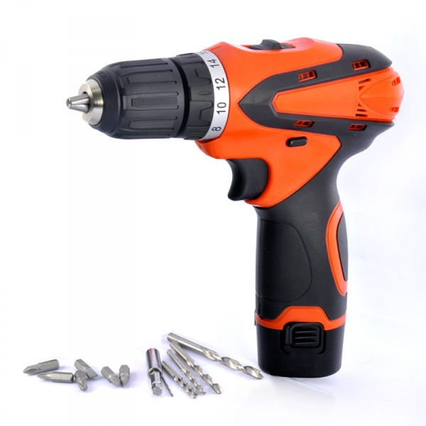 12V Cordless Electric Drill - Flashlight, Rechargeable Battery, 2 Speed