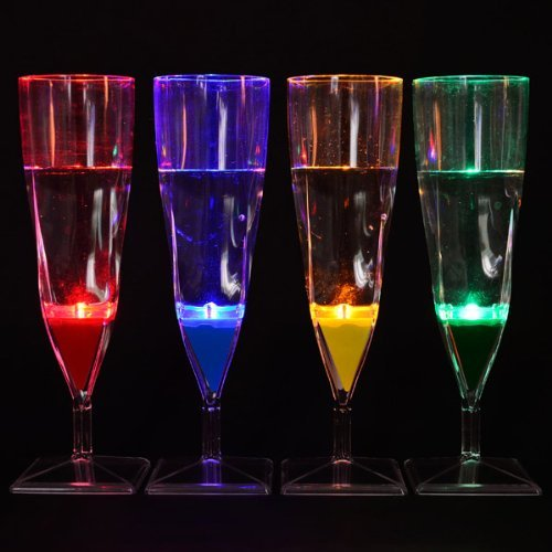 Aqua Glow Liquid Activated Flashing Champagne Flutes
