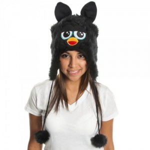 Furby Big Face Black Juniors Laplander HAT CAP Beanie
