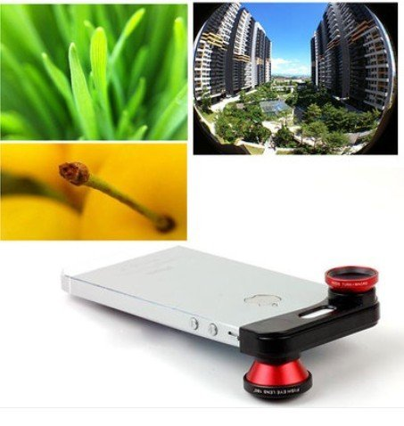 Detachable 3 in 1 180° Fish Eye/Wide Angle/Macro Lens Camera Kit For iPhone5