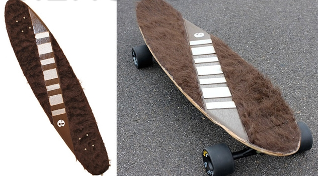 Skateboarder Riding a Wookiee
