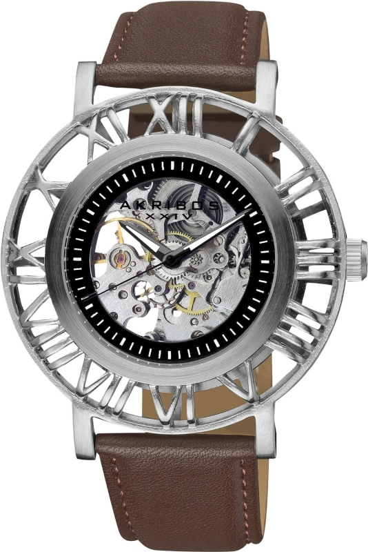 Akribos Skeleton Strap Watch