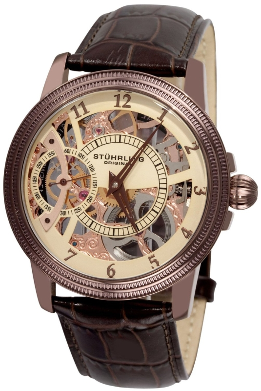 Stuhrling Original Men's Skeleton Brown Watch
