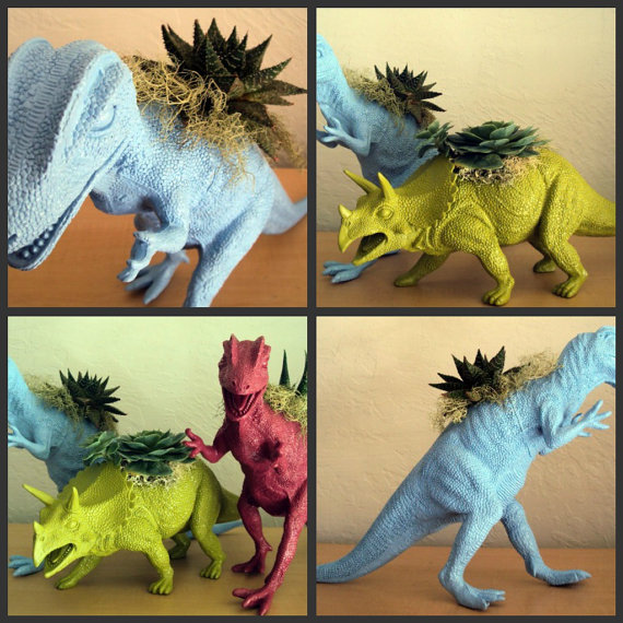 Sky Blue Dinosaur Planter