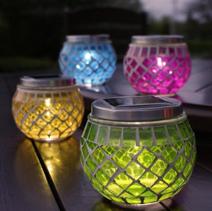Outdoor Solar Mosaic Table Lantern Lights