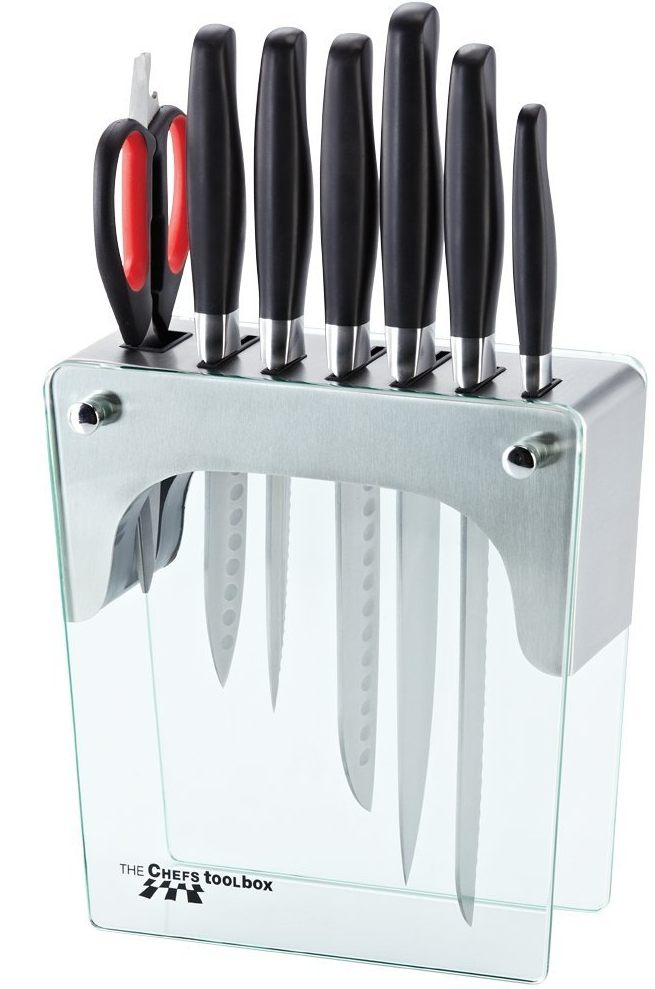 piece knife set with tempered glass block gadgets matrix