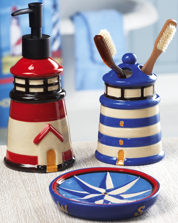 Lighthouse Nautical Bath Accessory Set