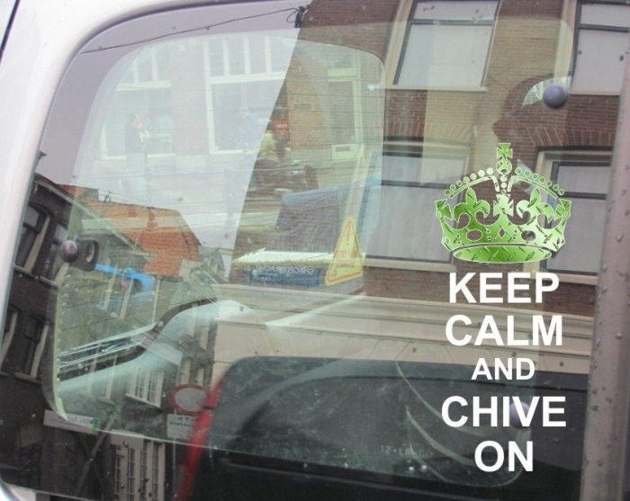 Keep Calm and Chive on Green Diamond Plate/White Exterior Window Decal