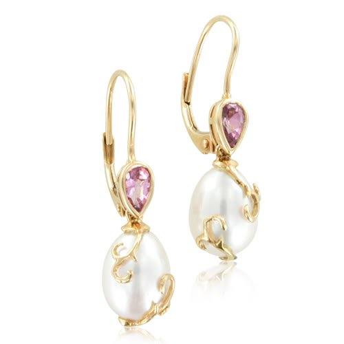 Tourmaline and Pearl Drop Earrings in 14k Rose Gold