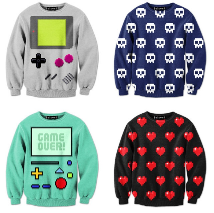 Video Game Pixelated Sweatshirts