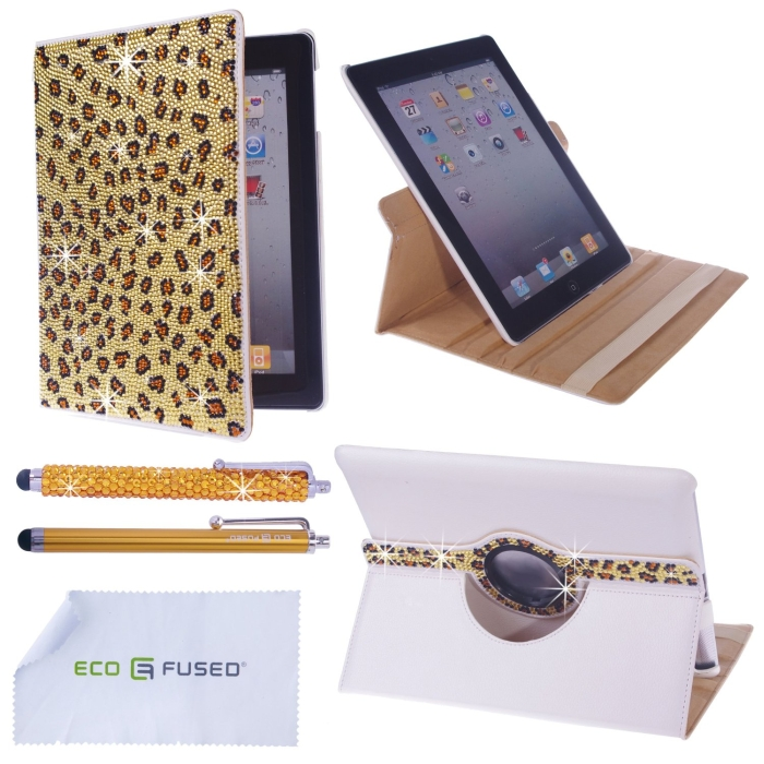 Rotating iPad 4 3 2 White Leather Case with Sparkling Crystals