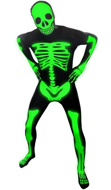 Deluxe Skeleton Glow Skintight Bodysuit Morphsuits Costume