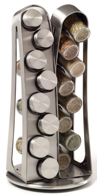 16 Jar Stainless Steel Tower Spice Rack