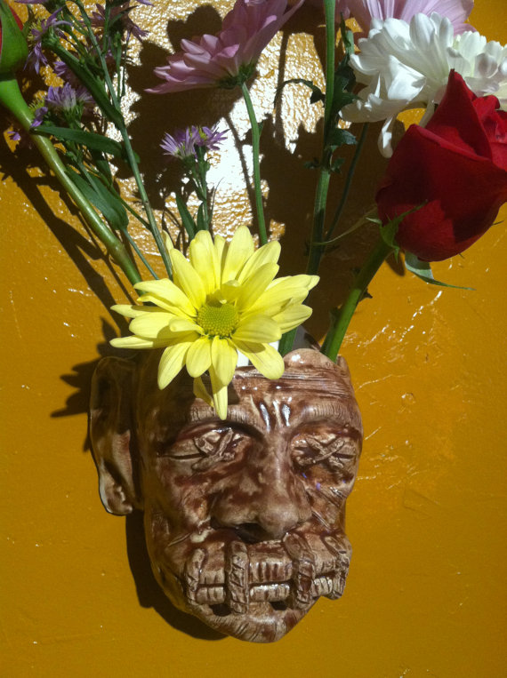 Shrunken Head Wall Vase