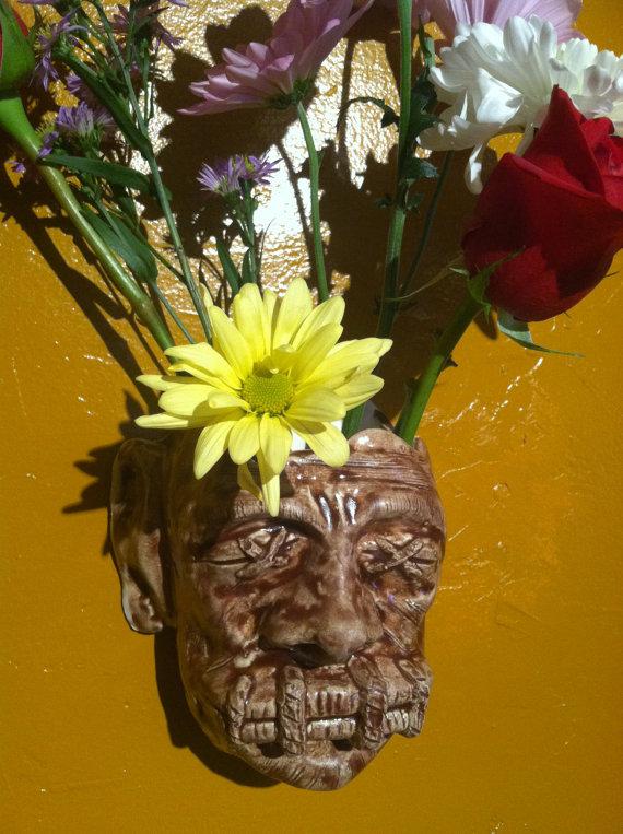 Shrunken Head Wall Vase