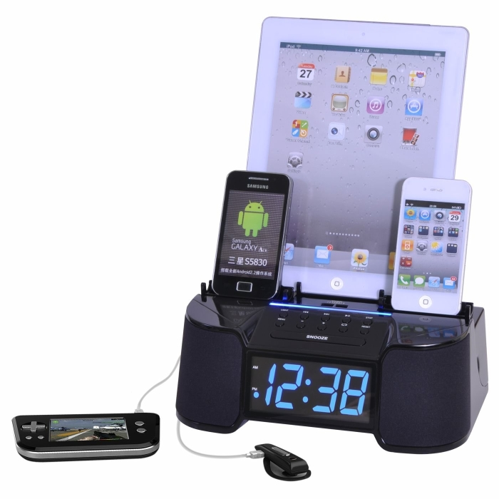 Smart Phone Charger with Alarm, Clock and FM Radio