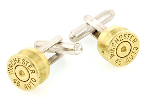 45 caliber cartridge end cufflinks