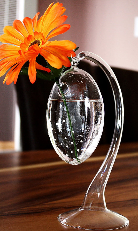 Transparent Glass Vase & Stand