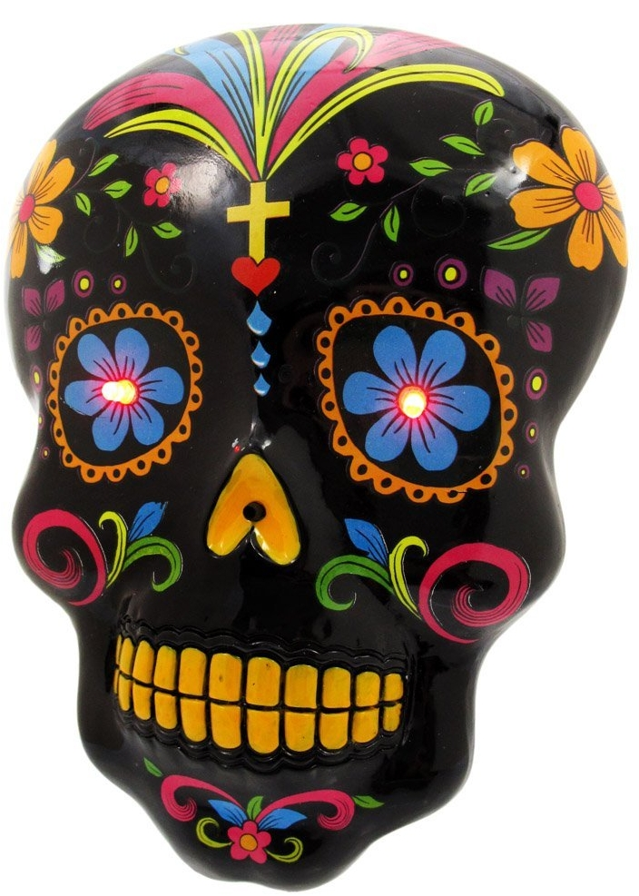 DAY OF THE DEAD Skull Wall Hanging LED Eyes