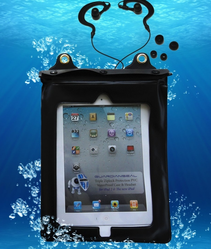 Waterproof iPad 2/3 Case with Earhook Headsets, Black