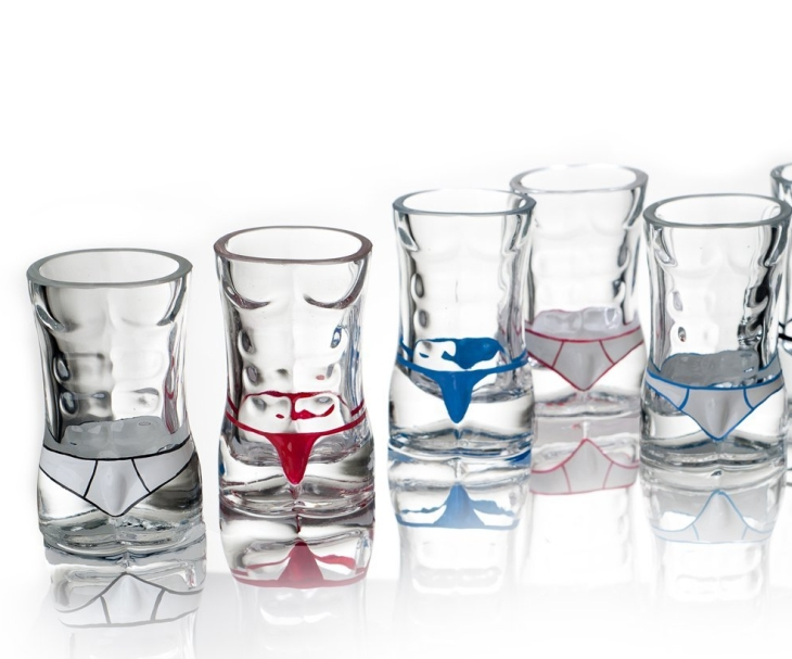 Set of 6 Male Torso Hunk Shot Glasses